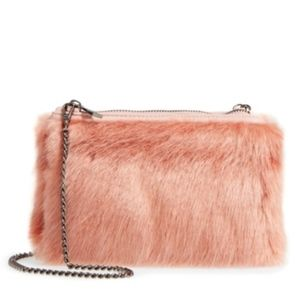 Street Level Faux Fur Pink Clutch Crossbody Bag